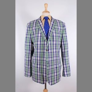 IZOD XXL 46L Green Check Cotton Sport Coat Y461